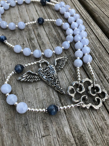 Blue Lace Agate and Kyanite with Sterling Silver and Pewter Alternative Rosary