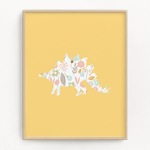 Yellow Stegosaurus art print with floral dinosaur design.