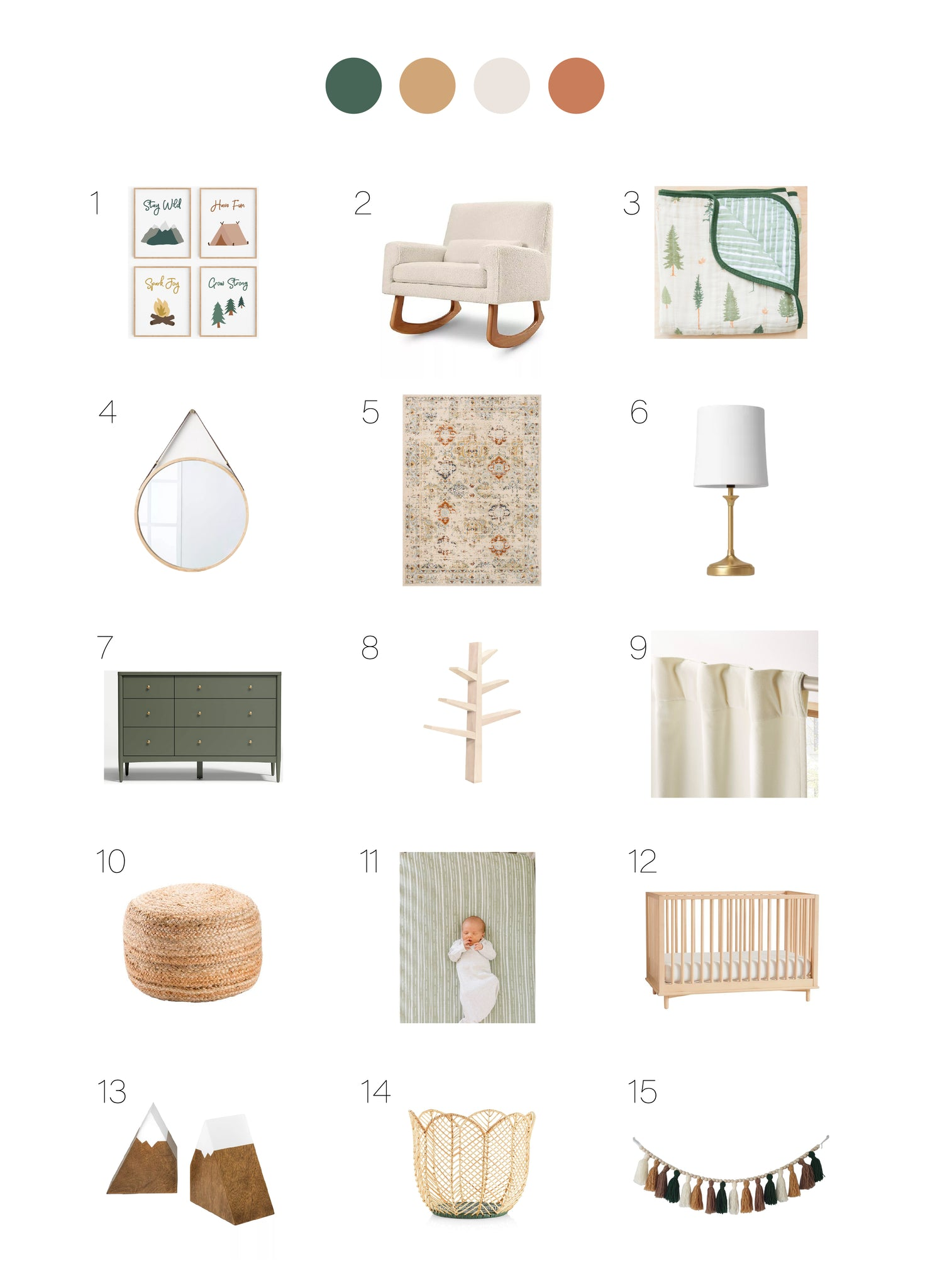 Gender neutral nature themed nursery style board