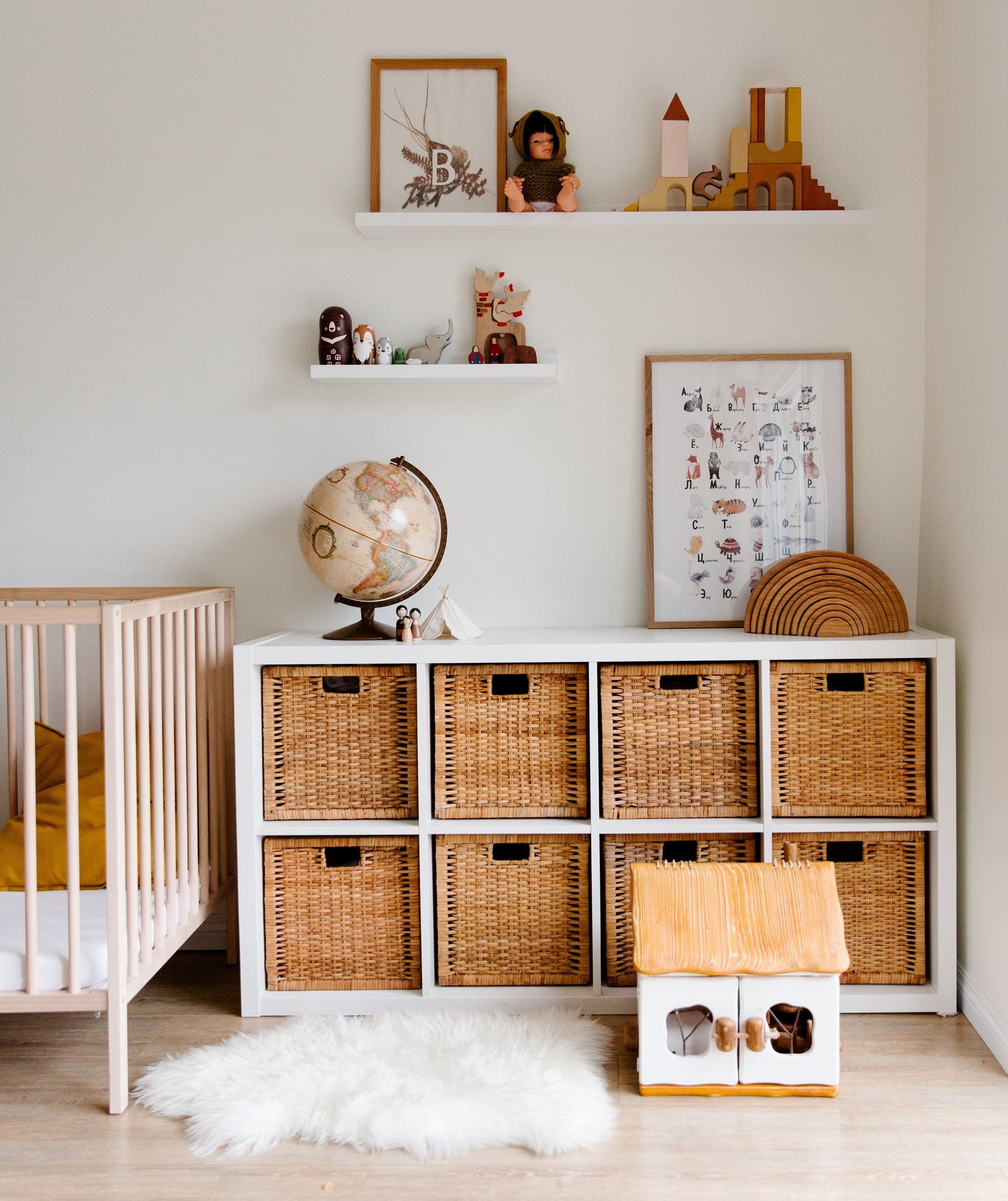 Nursery with wood and wicker accents
