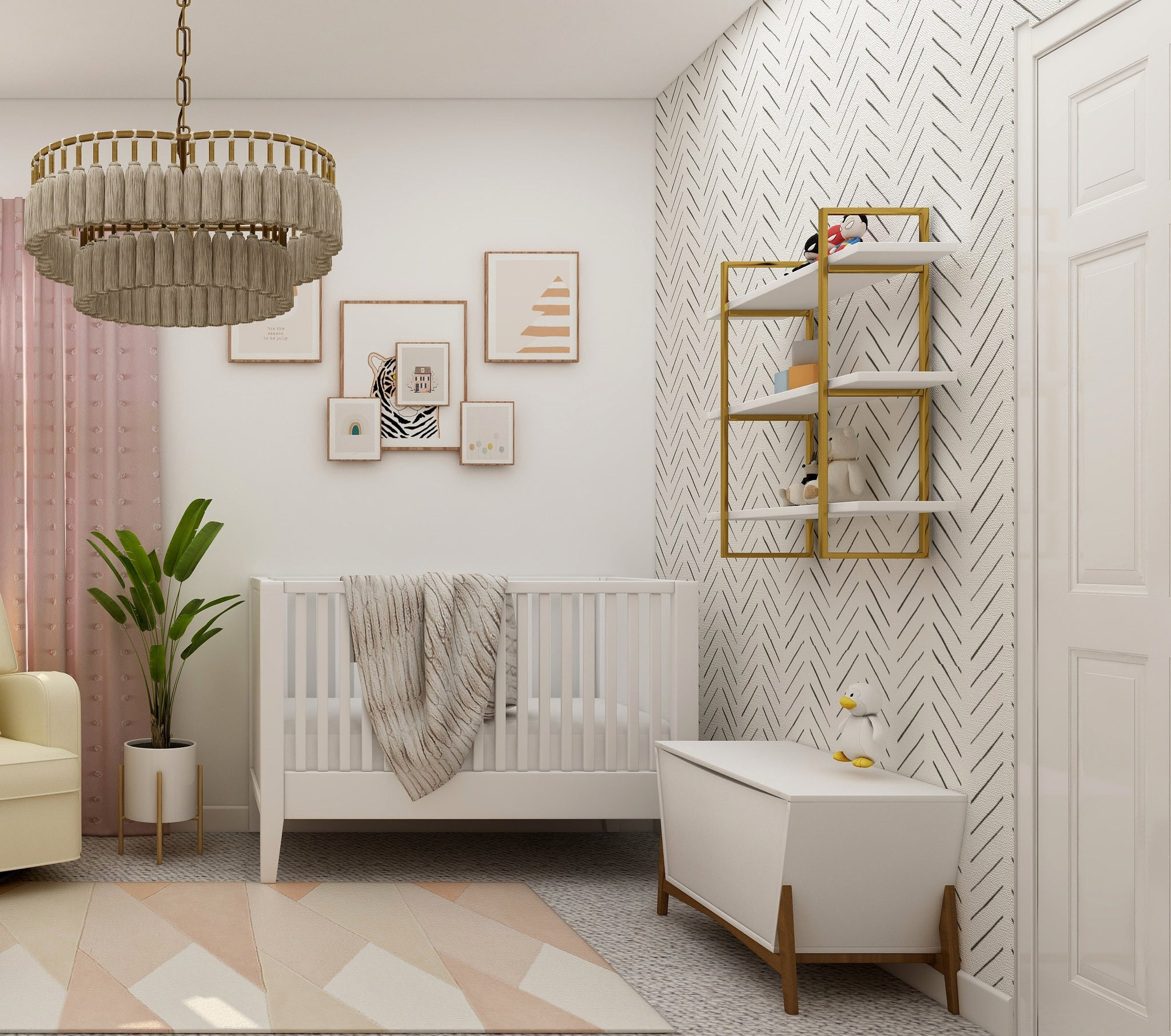 White and pink baby nursery with wallpaper
