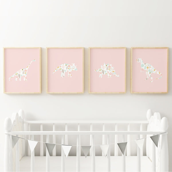 Four pink dinosaur art prints for girl's nursery.