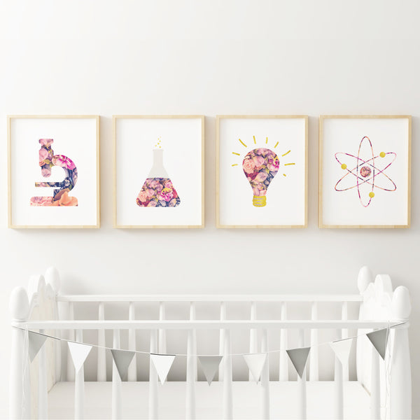 Floral Science Art Prints (Set of 4)