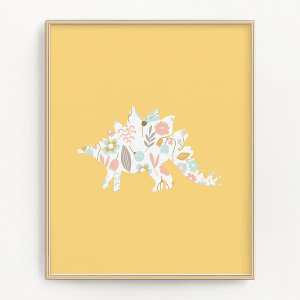 Rainbow Floral Dinosaur Art Prints (Set of 3)