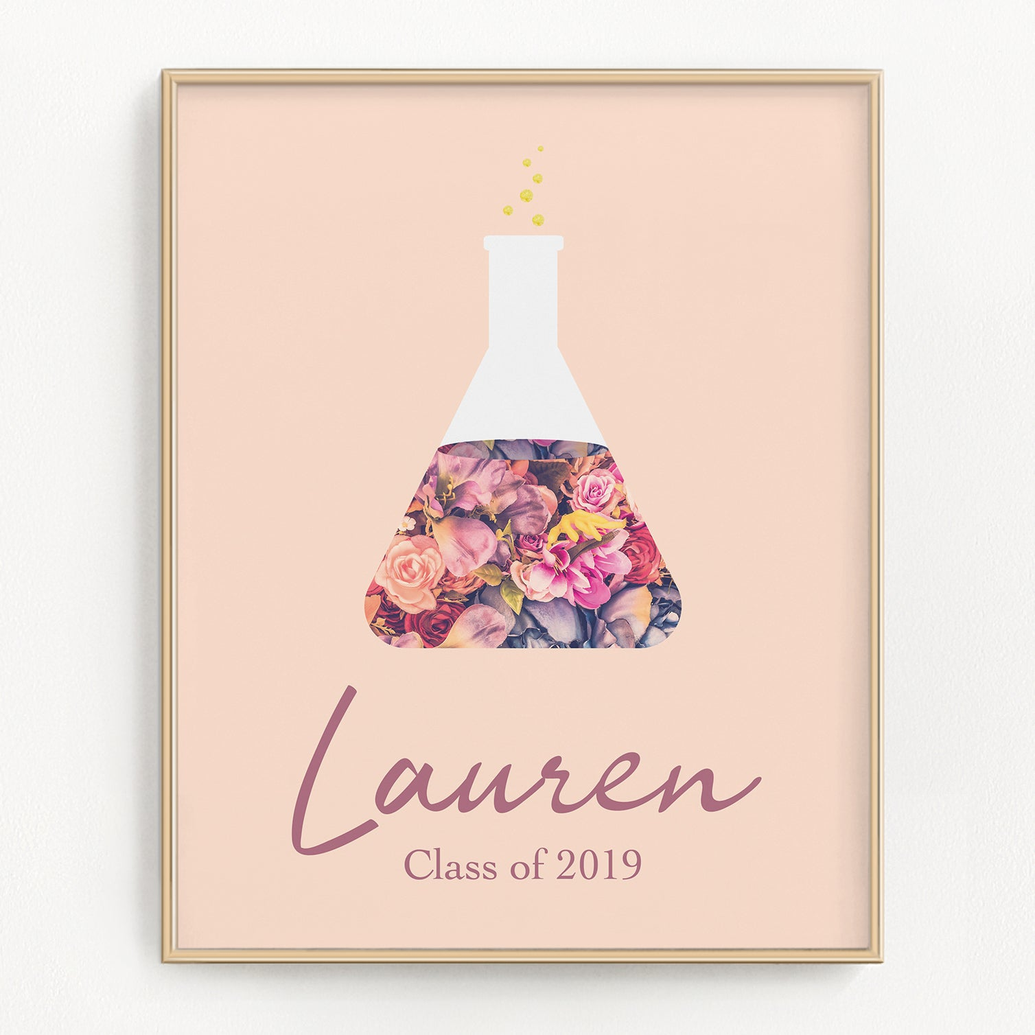 Personalized Blush Floral Beaker Art Print