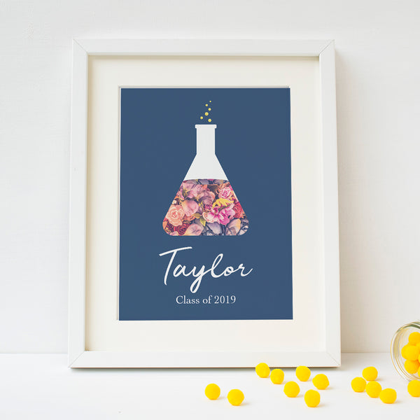 Personalized Navy Floral Beaker Art Print