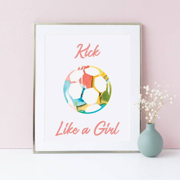 Soccer decor for girls, art print with soccer ball and empowering message.