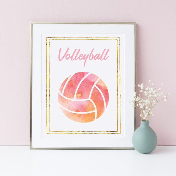 Volleyball poster for girls in pink and gold.