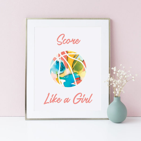 Basketball art print for female empowerment.