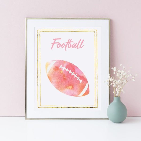 8x10 football print for girls.