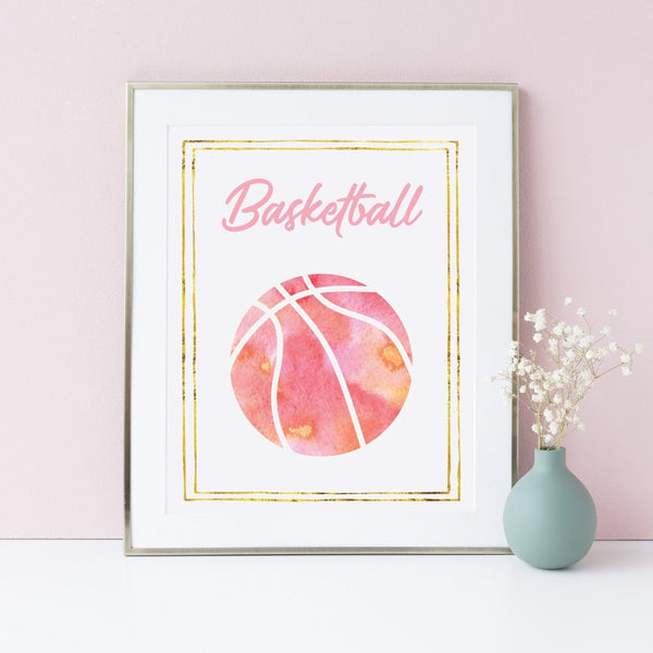 8x10 basketball art print for girls.