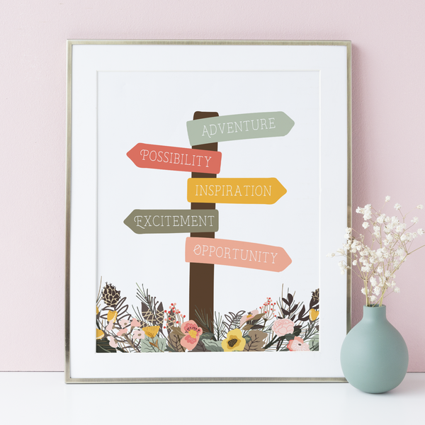 Floral Fields Signpost Art Print