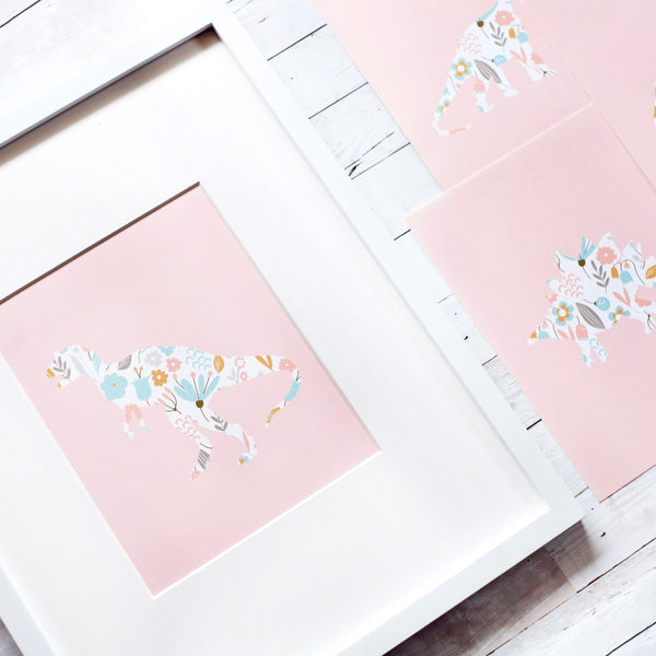 Pink Floral Dinosaur Art Prints (Set of 4)