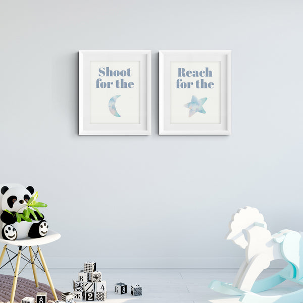 Moon and Star Art Prints (Set of 2)