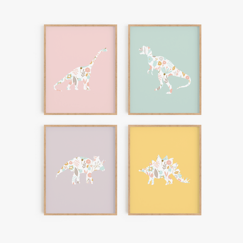 Rainbow Floral Dinosaur Art Prints (Set of 4)