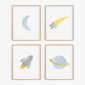 Blue and Gray Space Art Prints (Set of 4)