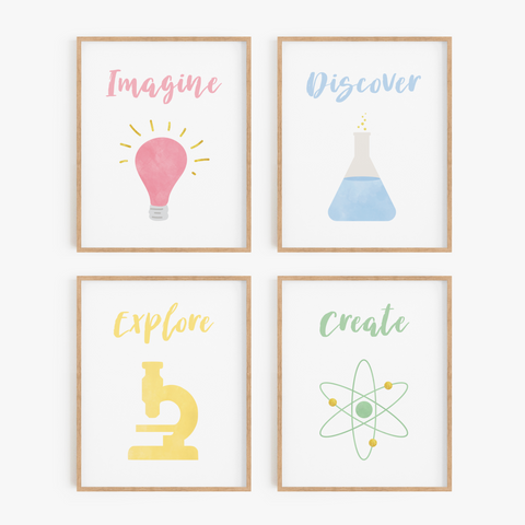 Rainbow Science Art Prints (Set of 4)
