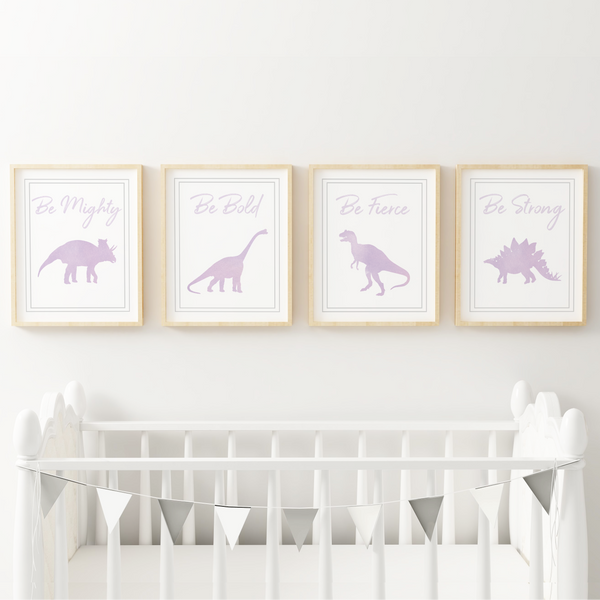 Watercolor Dinosaur Art Prints (Set of 4)