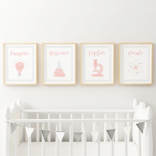 Set of 4 blush pink science art prints for girls shown as nursery decor.