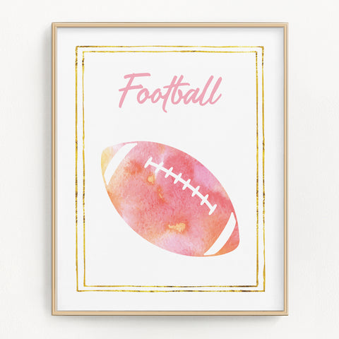 Pink watercolor football art print.
