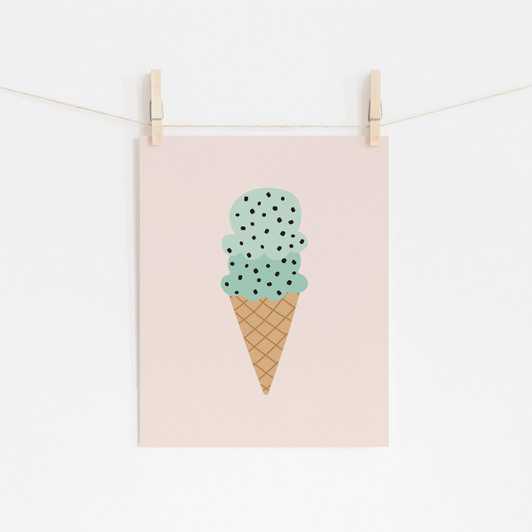 Mint Chocolate Chip Ice Cream Art Print