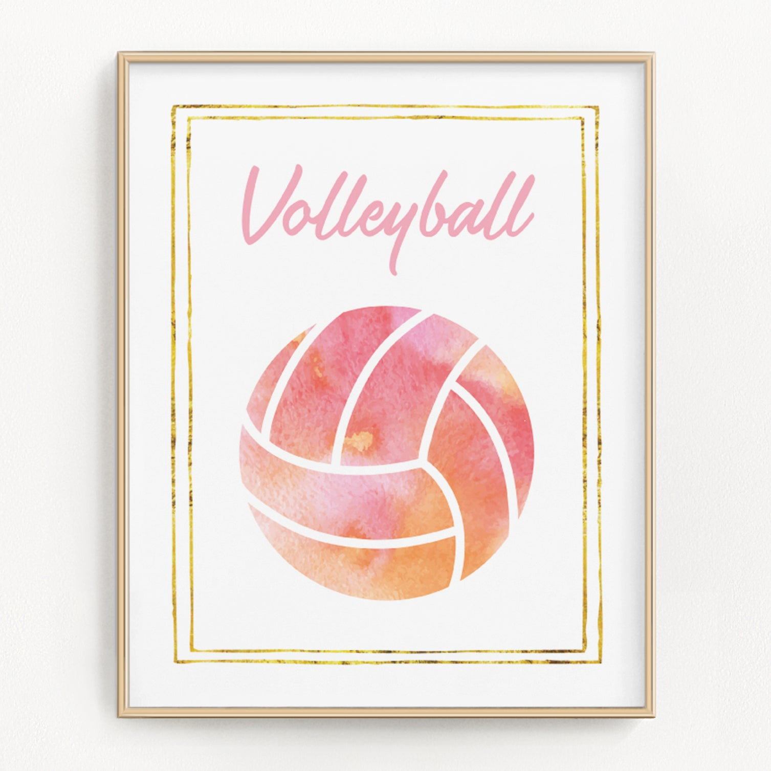 Pink watercolor volleyball art print.