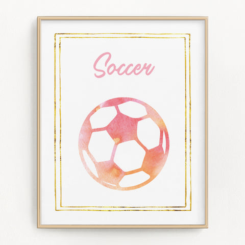 Pink watercolor soccer art print.