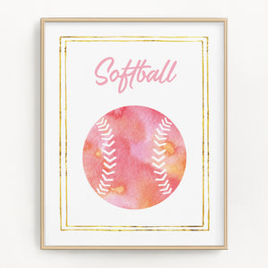 Pink watercolor basketball art print.
