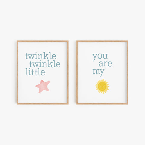 Nursery Rhyme Art Prints (Set of 2)