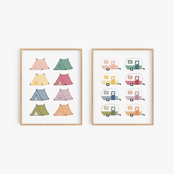 Mod Camping Art Prints (Set of 2)