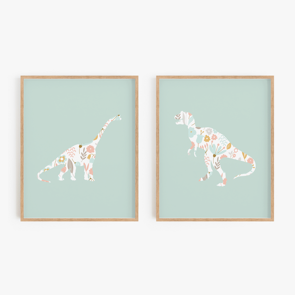 Floral Dinosaur Art Prints (Set of 2)