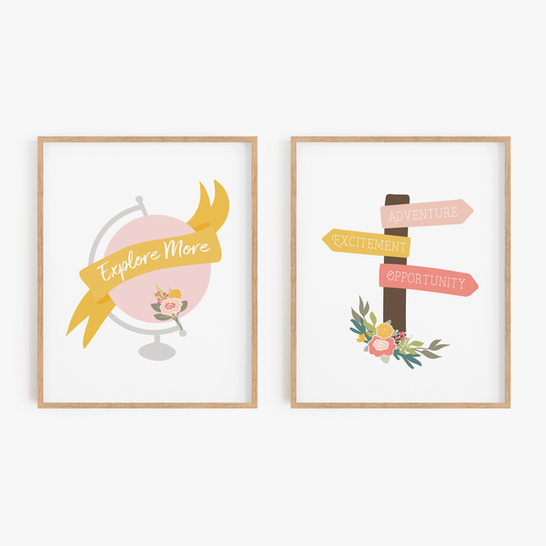 Floral Globe and Signpost Art Prints (Set of 2)
