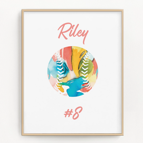 Personalized Softball Art Print