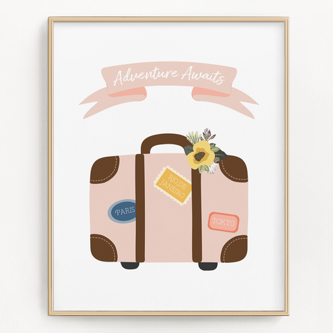 Adventure Awaits Suitcase Art Print