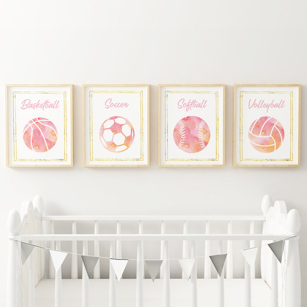 Decor for girls' sports nursery.
