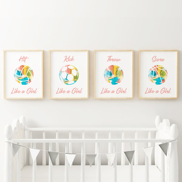 Sports nursery decor for girls - volleyball, soccer, basketball and soccer.