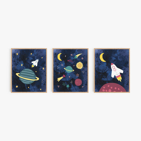 Midnight Galaxy Art Prints (Set of 3)