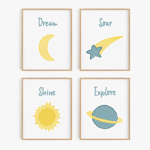 Outer Space Illustrated Art Prints (Set of 4)