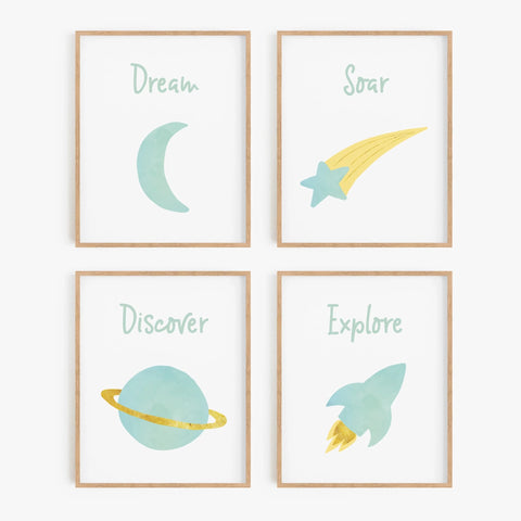 Watercolor Space Art Prints (Set of 4)
