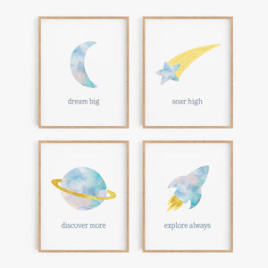 Sweet Dreams Celestial Art Prints (Set of 4)