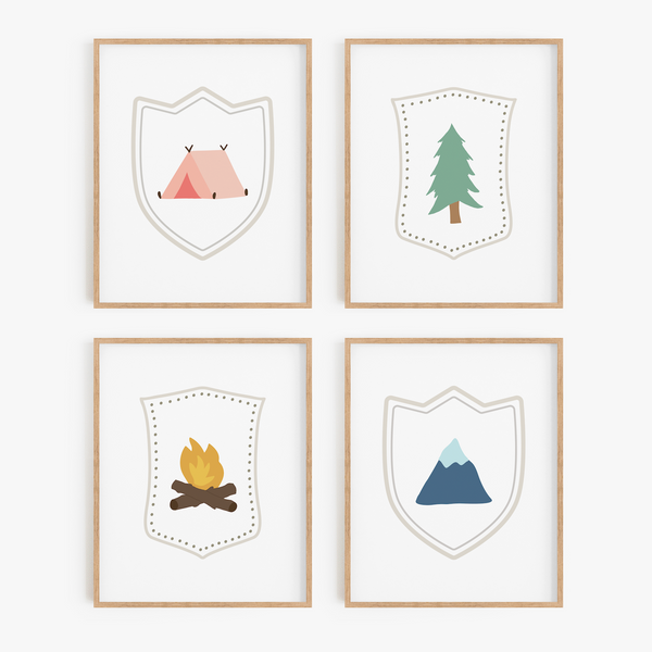 Adventure Badge Art Prints (Set of 4)