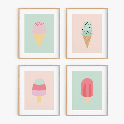 Sweet Summer Art Prints (Set of 4)