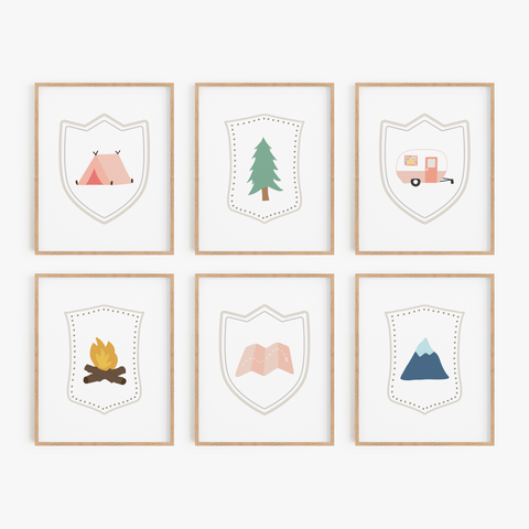 Adventure Badge Art Prints (Set of 6)