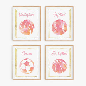 Pink Watercolor Sports Art Prints (Set of 4)