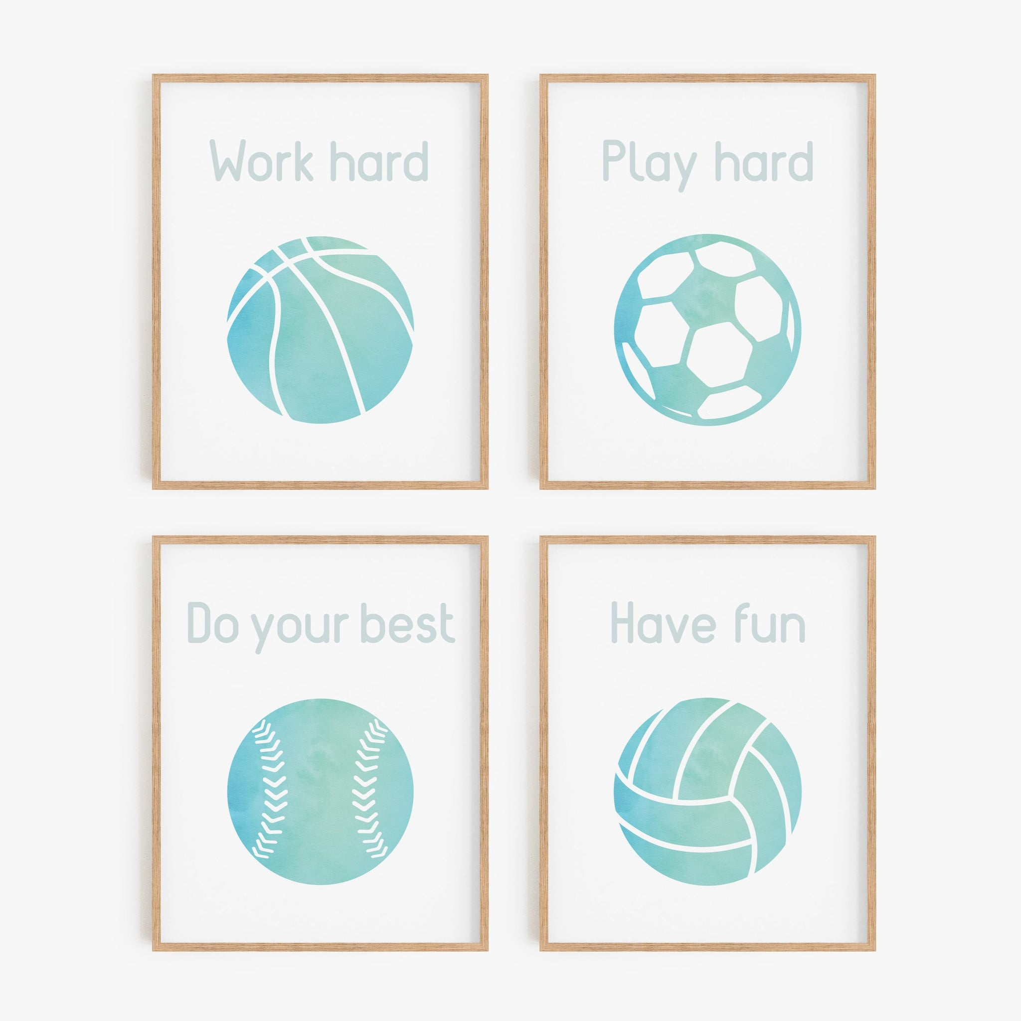 Turquoise Watercolor Sports Art Prints (Set of 4)