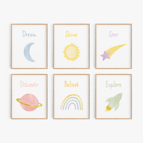 Inspirational Outer Space Art Prints (Set of 6)