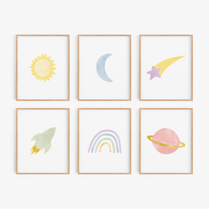 Rainbow Outer Space Art Prints (Set of 6)