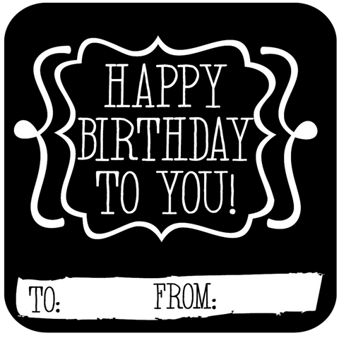 Sweet Lettering Happy Birthday Gift Tag Stickers