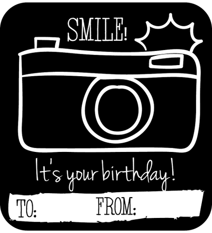 Camera Happy Birthday Gift Tag Stickers