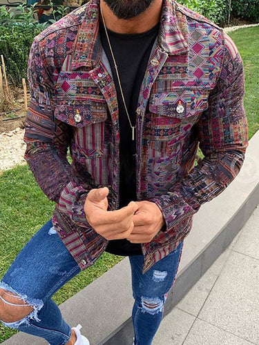 Fashion Individuality Multicolor Printed Jacket